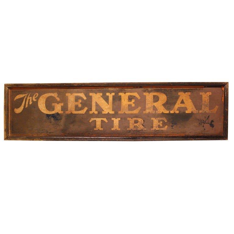 """Antique Tin Sign """" The General Tire """""""