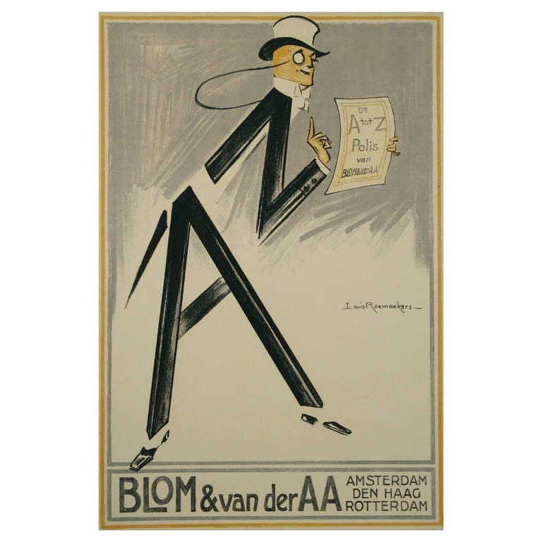 Dutch art deco period insurance poster by raemaekers for Art deco era dates