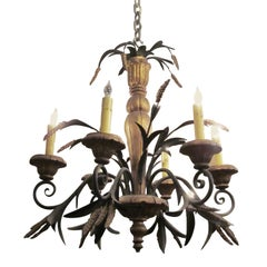 1970s French Gold Painted Six-Light Iron Chandelier with Wheat Sheafs