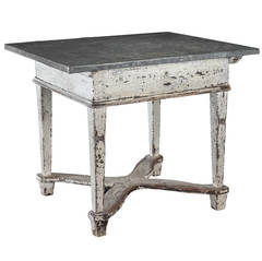 Primitive Zinc Top Baker's Table