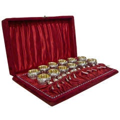 Set of 12 Reed & Barton Silver-Plate Salt Cellars with Spoons