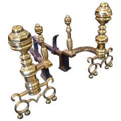 19th Century  Large Brass Andirons