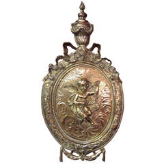 RARE French Neo Classical Brass Wall Plaque with Cherub