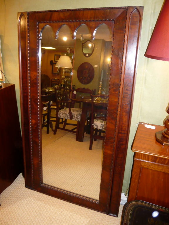Gothic Mahogany Wall Floor Mirror At 1stdibs
