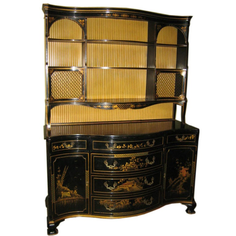 SERPENTINE FRONT BLACK LACQUER SIDEBOARD IN THE