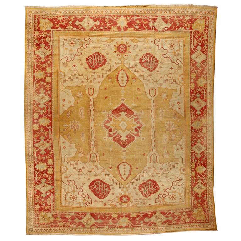 Antique 19th Century Turkish Oushak Carpet