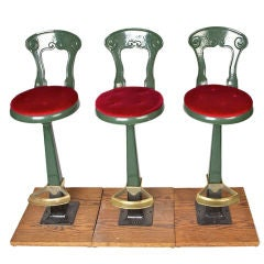 Set of three bar stools from 1910 to 1920