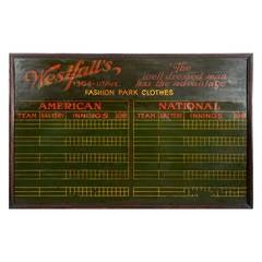 Late 19th/Early 20th Century Pool Hall Baseball Scoreboard