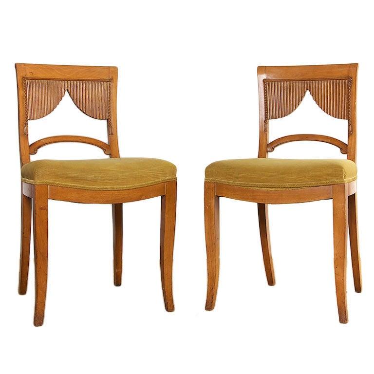 Pair Of German Biedermeier Opera Chairs At 1stdibs