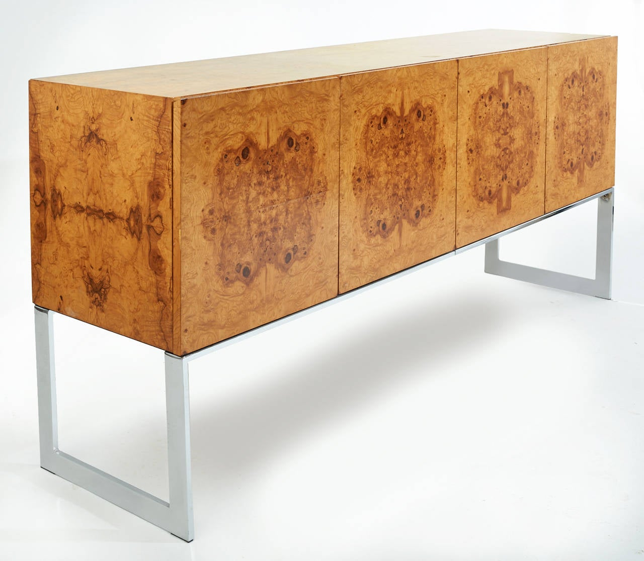 Early 1970s Burl Wood And Chrome Buffet Or Credenza Designed By Milo . Full resolution  snapshot, nominally Width 1280 Height 1116 pixels, snapshot with #8D471E.