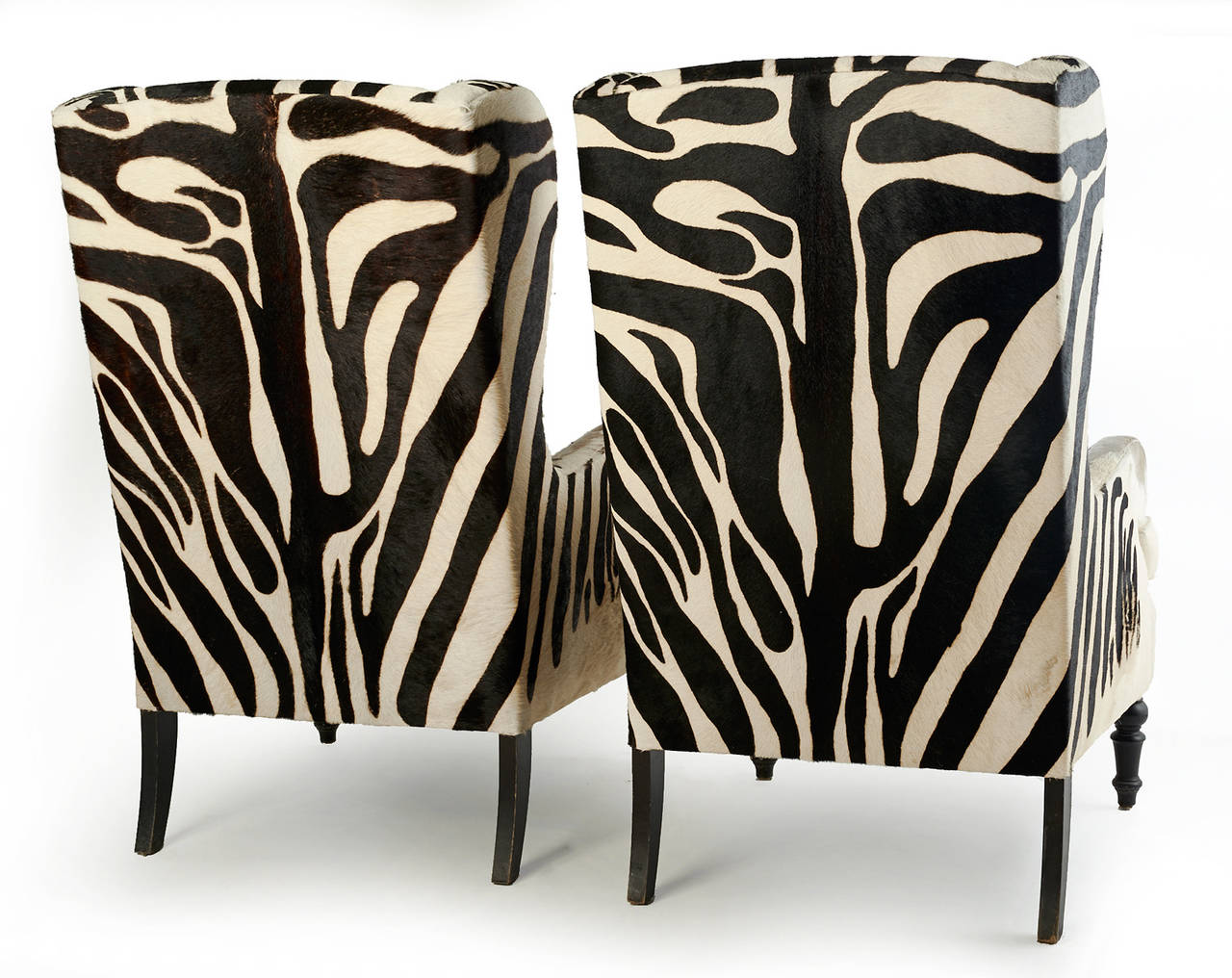 20th Century Faux Zebra Wingback Chairs At 1stdibs