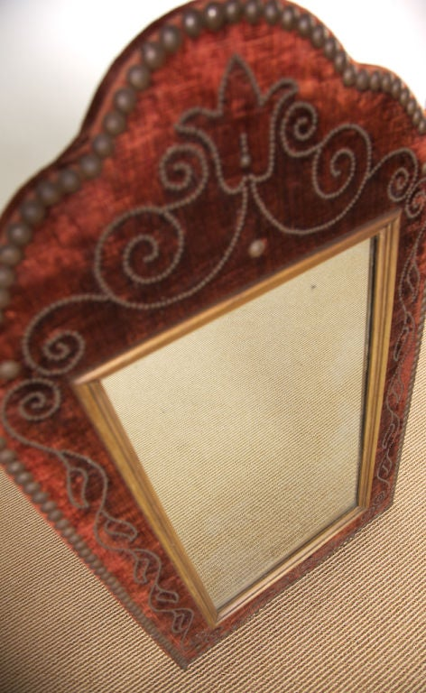 Vintage Velvet And Brass Nail Framed Mirror At 1stdibs