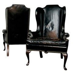 Two Early 1940s Wingback Black Leather Chairs