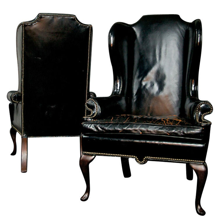 Two Early 1940s Wingback Black Leather Chairs At 1stdibs