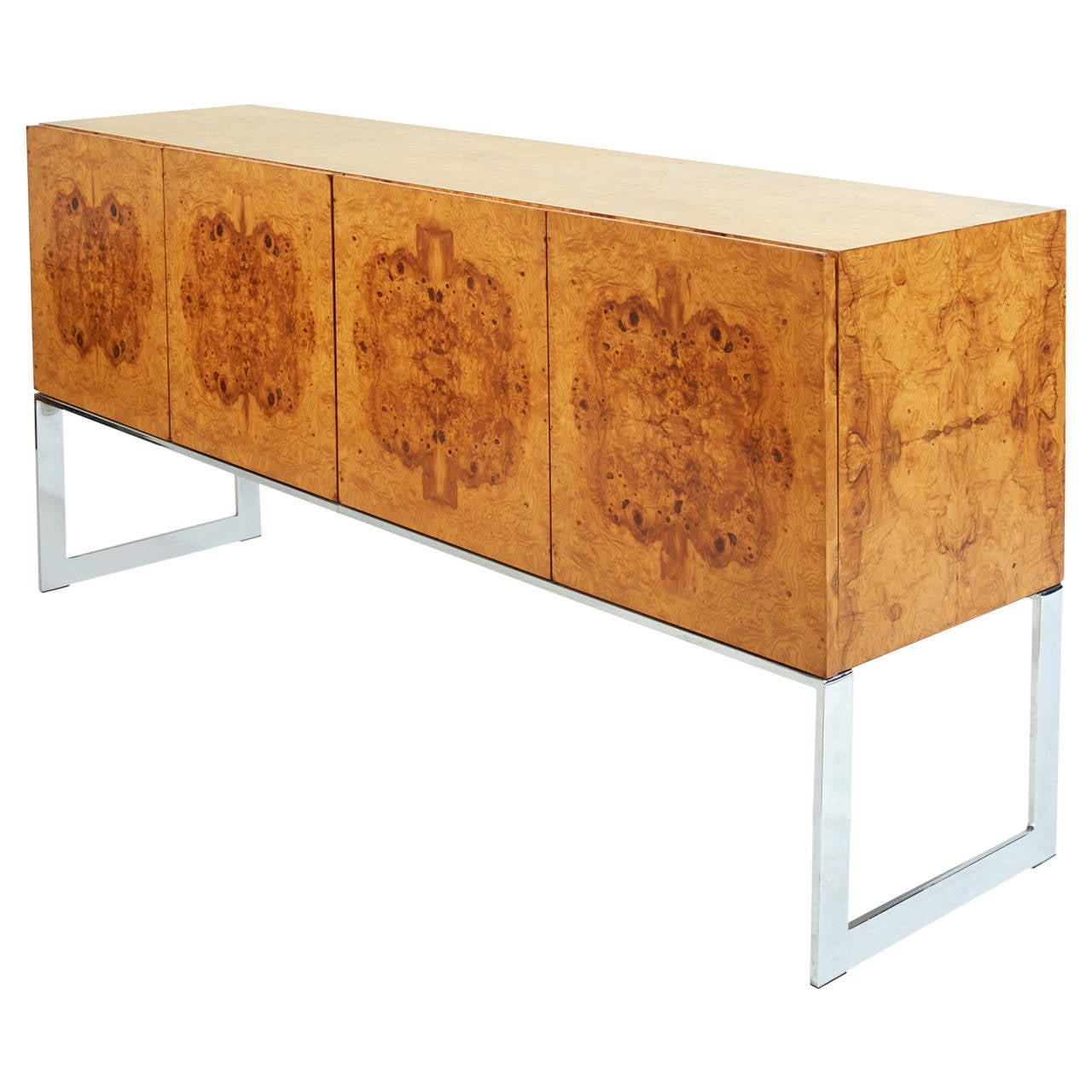 Early 1970s Burl Wood And Chrome Buffet Or Credenza Designed By Milo . Full resolution  snapshot, nominally Width 1280 Height 1280 pixels, snapshot with #AD531A.