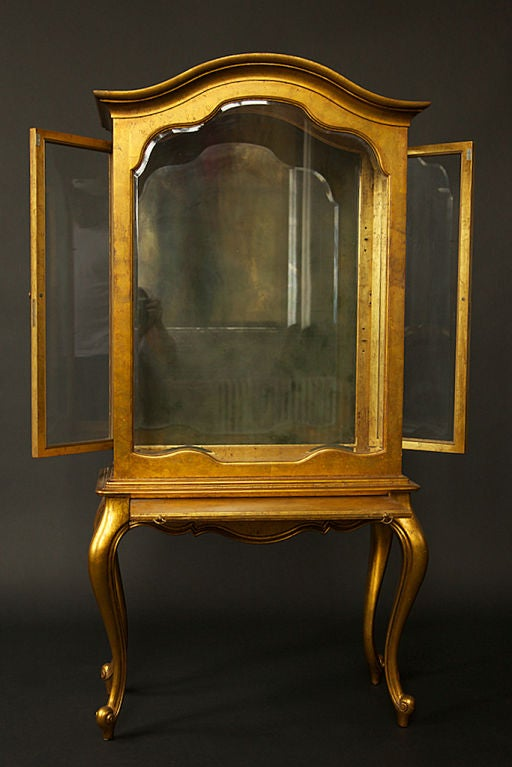 1940 39 S To 1950 39 S Gold Leaf Curio Cabinet At 1stdibs