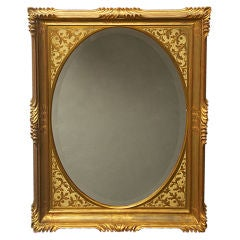 Early 1960's Decorative Gold-Leaf Wall Mirror