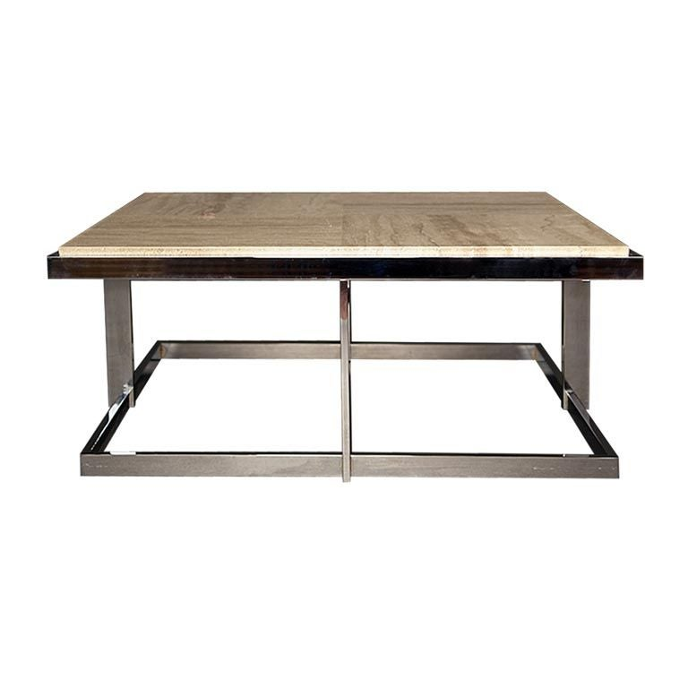 Square low set early 1970 39 s chrome and marble coffee table at 1stdibs Low coffee table square