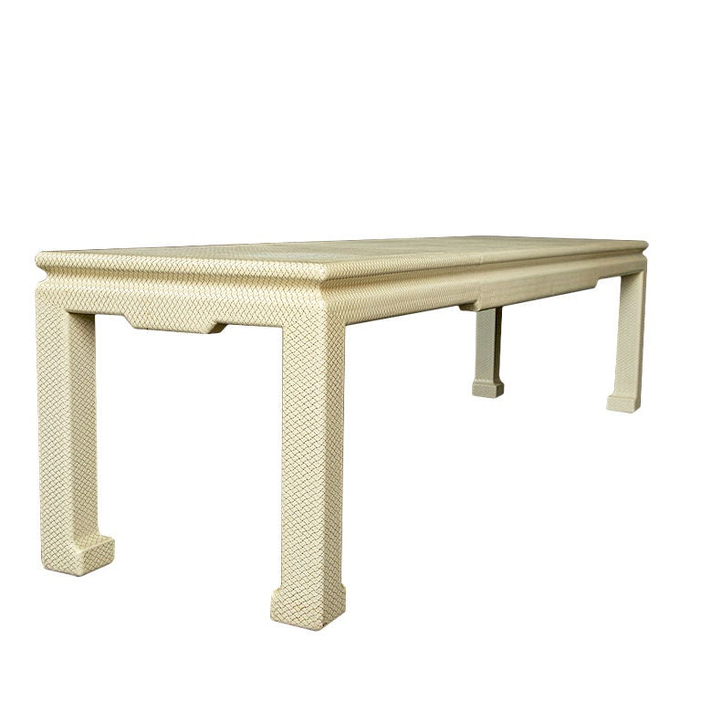 Long Console Table : Karl Springer Snakeskin Extra- Long Console Table
