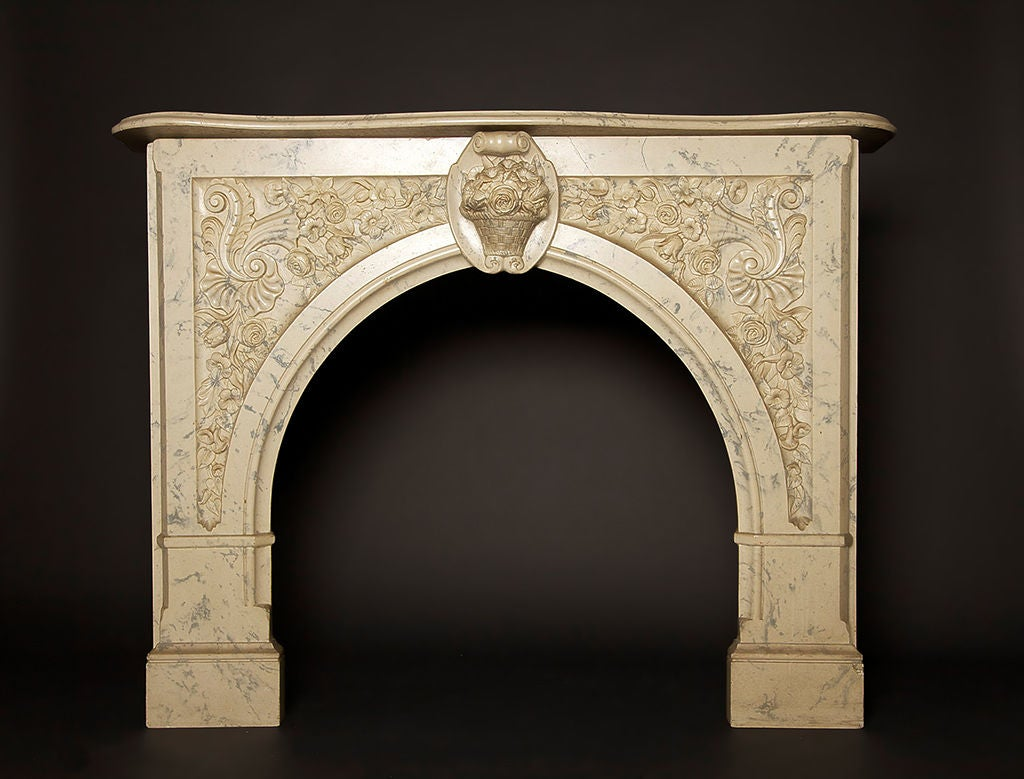 Faux marble fireplace mantel for sale at 1stdibs for Marble mantels for sale