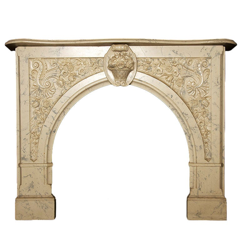 Faux marble fireplace mantel for sale at 1stdibs for Faux marble fireplace mantels