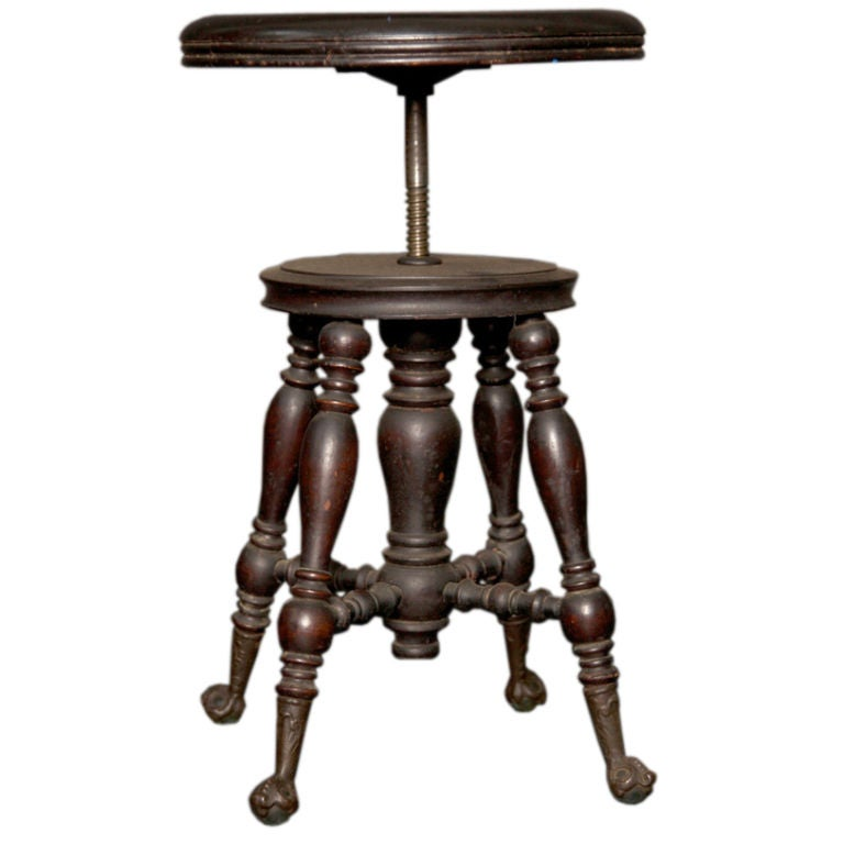 Late 19th Century Piano Stool Ball And Claw Glass Feet At