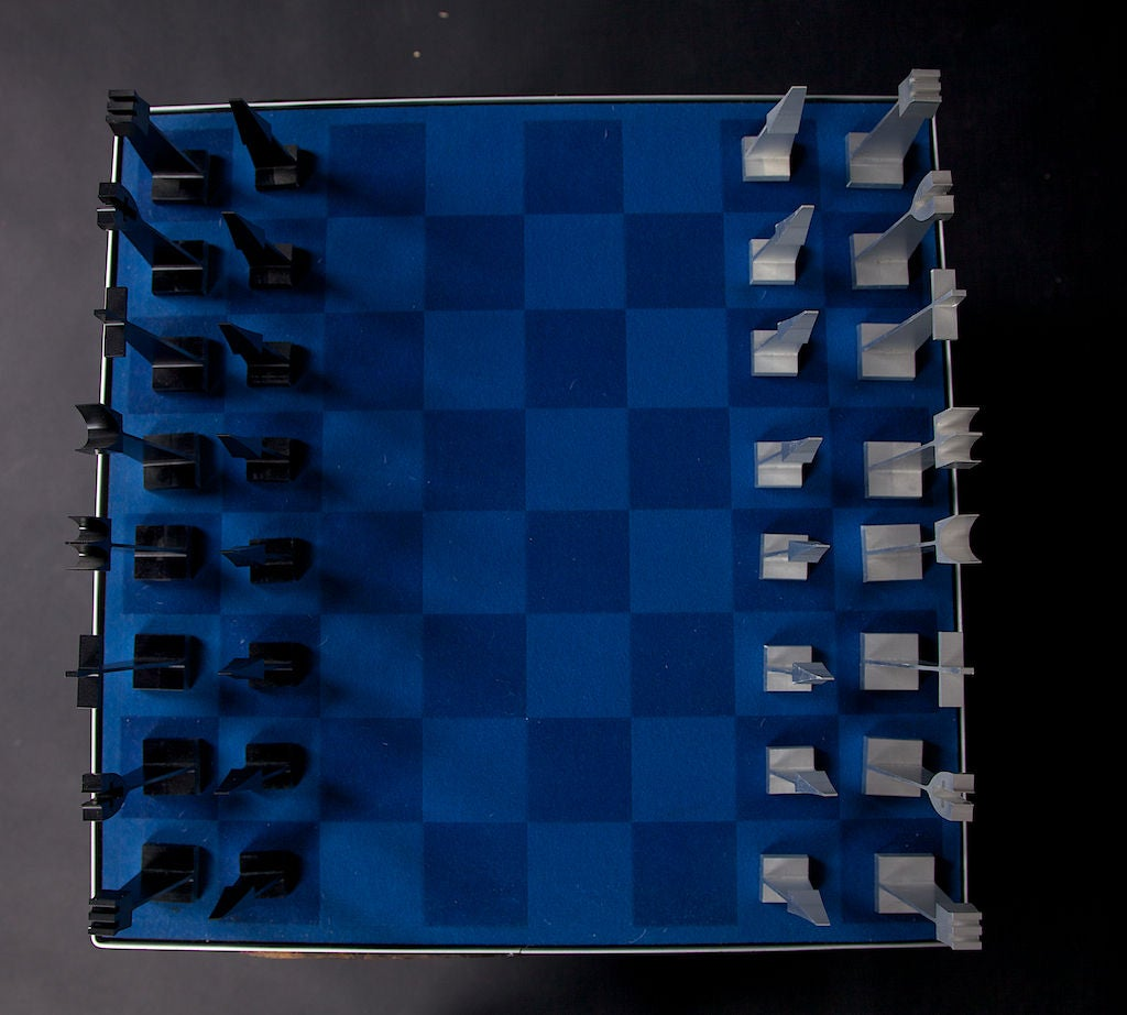 Rare austin creations metal chess set with storage display case at 1stdibs - Chess board display case ...