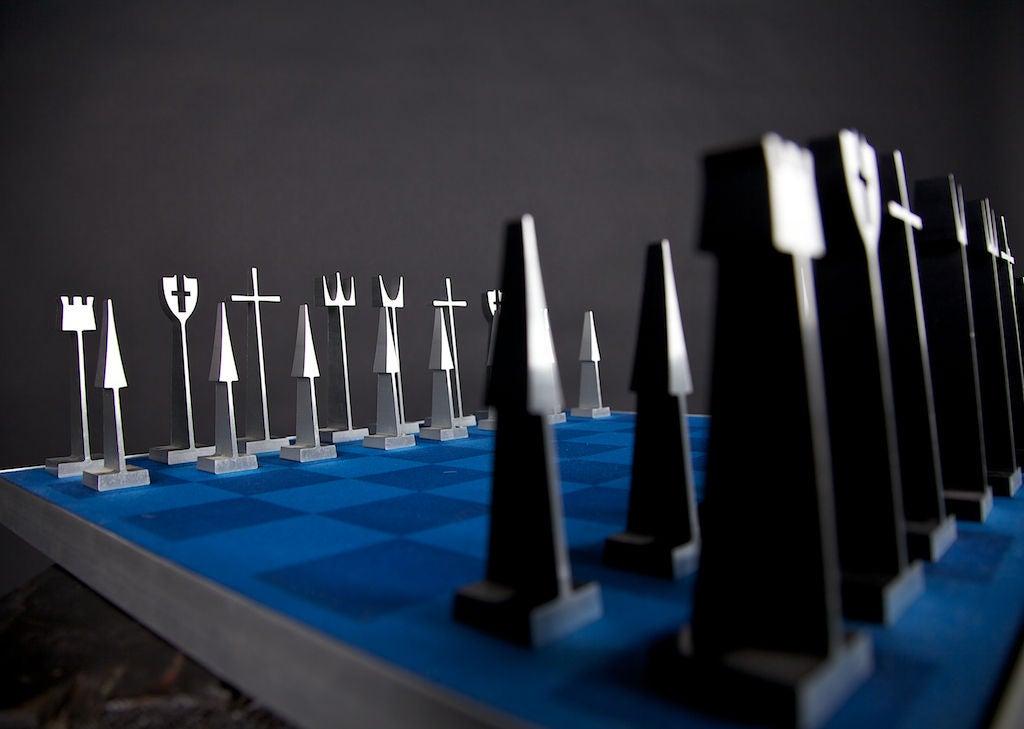 Rare Austin Creations Metal Chess Set With Storage