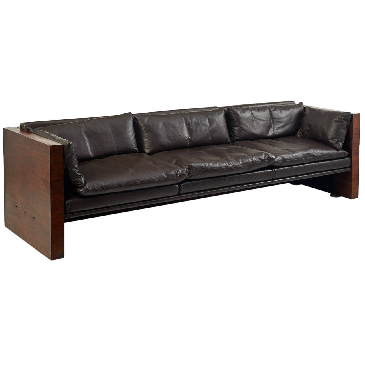1970s Leather Rosewood Sofa In The Manner Of Milo Baughman