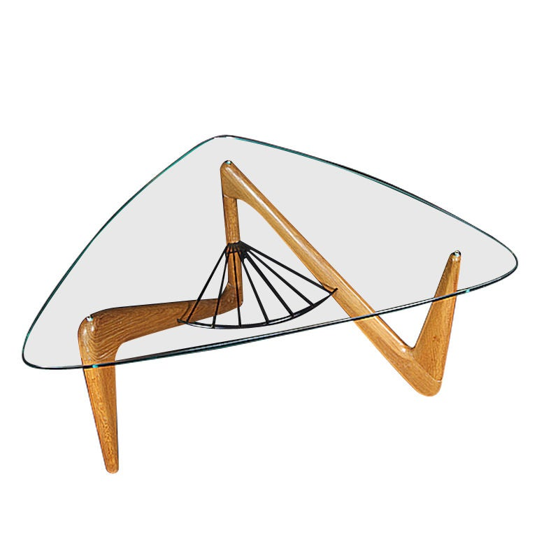 Louis Sognot Coffee Table In Oak And Glass At 1stdibs