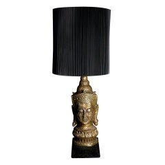 Gold-Leaf Asian Table Lamp with Original Shade
