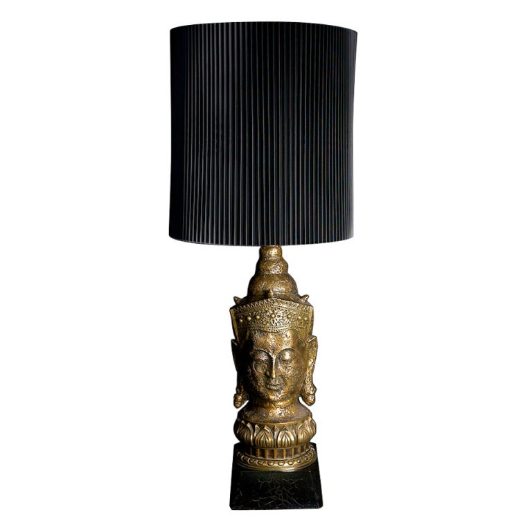 Gold Leaf Asian Table Lamp With Original Shade 1