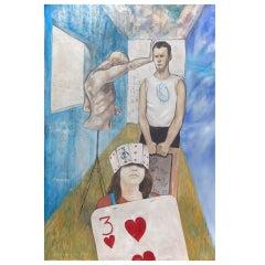 """""""La Entrada al Purgutorio Azul"""" Painting by Victor Rodriguez, NYC, 1992"""