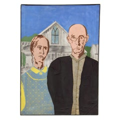 "Painting, Stylized After Grant Wood's ""American Gothic"""