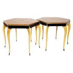 Pair of 1940s Swedish Side Tables with Inlaid Rosewood Parquet Top