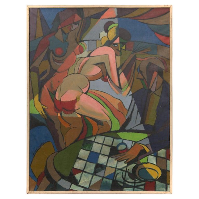 """Cubist """"Nightclub"""" Painting"""