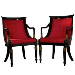 Pair of Lacquered Neoclassical Side Chairs