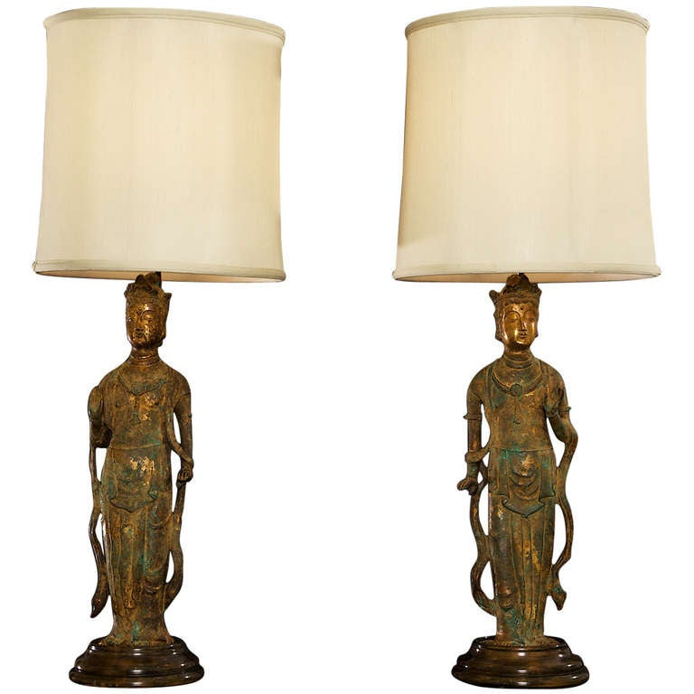 Buddha Lamps in the Style of James Mont
