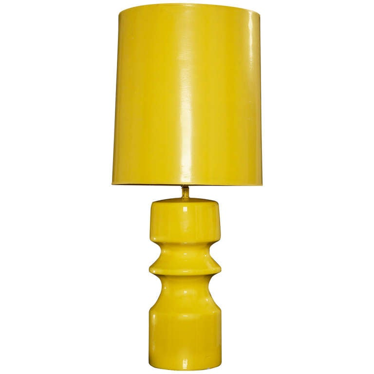 What S Hot On Pinterest Mid Century Table Lamps For Your Loft: 1970's Italian Pop Yellow Lamp With Original Shade At 1stdibs