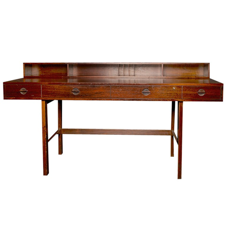 1960 S Jens Quistgaard Rosewood Desk Four Drawers Flip