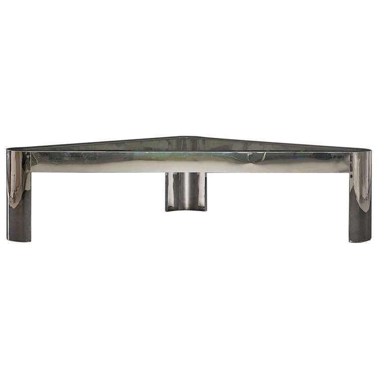 Large and Low Chrome and Glass Pace Coffee Table, circa 1970s 1