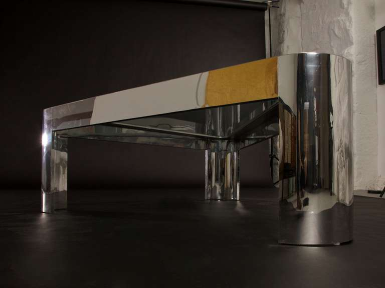 Large and Low Chrome and Glass Pace Coffee Table, circa 1970s 7