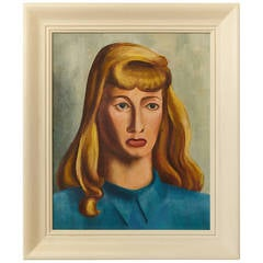 """1948 Oil on Canvas by Raymond J. Wendell Titled, """"My Girl Friend"""""""
