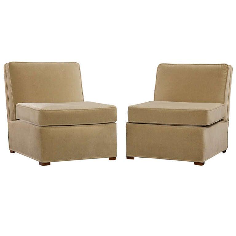 Elegant Pair of Art Deco Slipper Chairs, circa 1930s