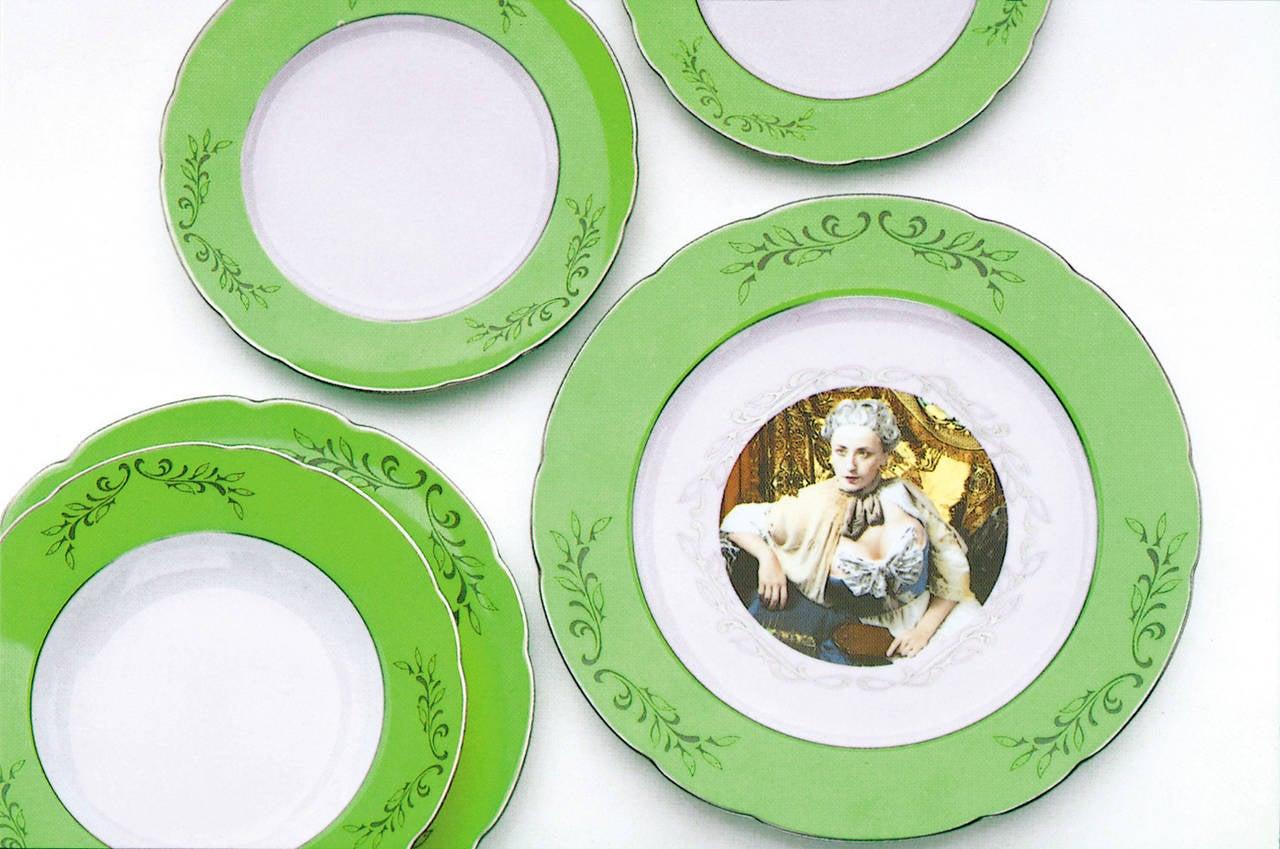 Cindy Sherman.  Madame de Pompadour (née Poisson), designed 1990. 30-piece porcelain dinner service: including six each of presentation plates, dinner plates, salad plates, rimmed soup bowls and dessert plates. Dimensions vary. Edition of 75