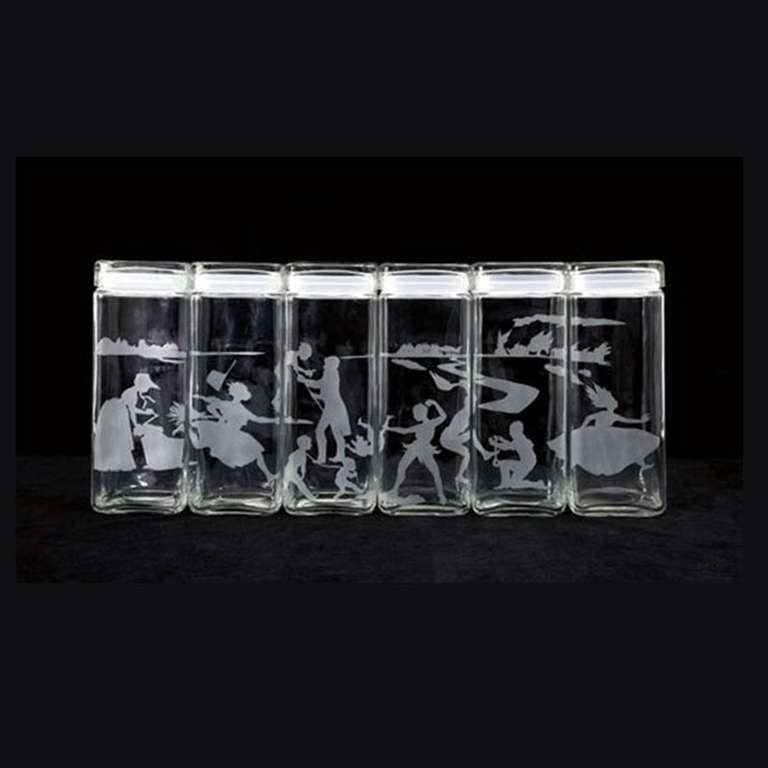 Untitled (Canisters) designed 1997 set of 6 etched glass canisters with lids 11 h. x 4 x 4 inches, each edition of 100  This set of six canisters by the acclaimed artist Kara Walker was originally published by the Renaissance Society at The