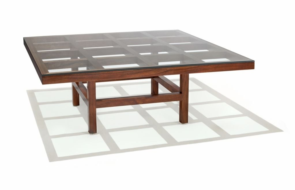 Coffee table designed 1981, black walnut with 3/8
