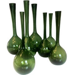 Collection of 7 Green Gullaskruf Vases by Arthur Percy