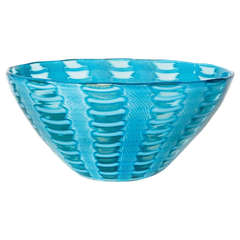 Murano Turquoise and White Cane Bowl by Cenedese