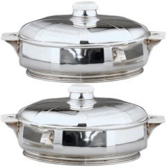 Pair of Sterling Silver and Ivory Tureens by Tétard Frères